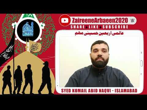 Clip   Syed Komail Abid Naqvi   Ajjki Yazidiat Ka Muqabla Arbaeen Se   Aalami Zaireene Arbaeen 2020 - Urdu